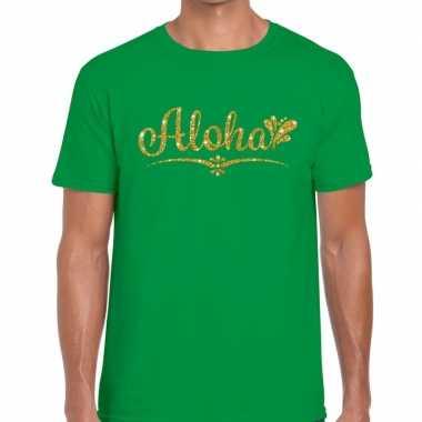 Aloha goud glitter hawaii t shirt groen heren