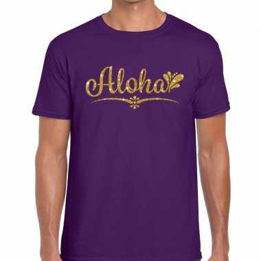 Aloha goud glitter hawaii t shirt paars heren