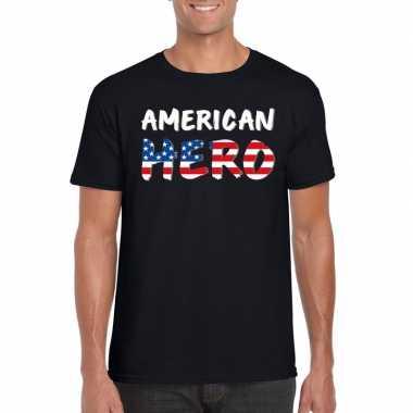 American hero tekst t shirt zwart heren