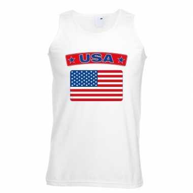 Amerika singlet shirt/ tanktop usa vlag wit heren