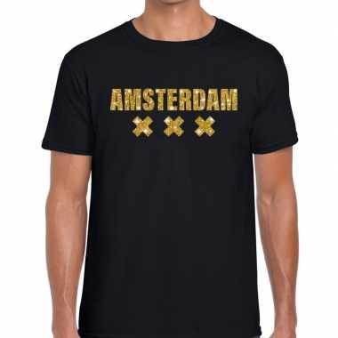 Amsterdam gouden glitter tekst t shirt zwart heren