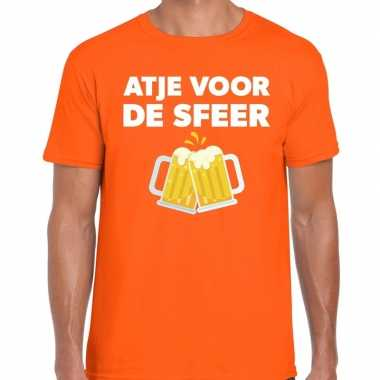 Atje sfeer feest t shirt oranje heren