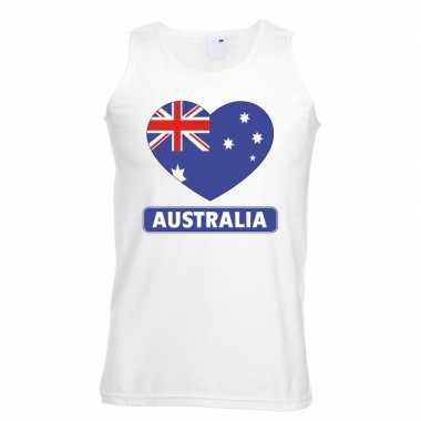 Australie hart vlag singlet shirt/ tanktop wit heren