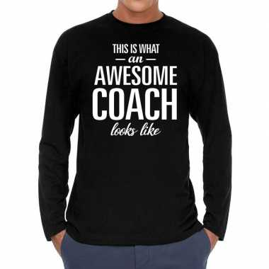Awesome coach cadeau t shirt long sleeves zwart heren