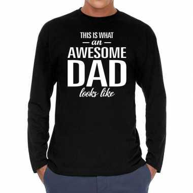 Awesome dad cadeau t shirt long sleeves zwart heren