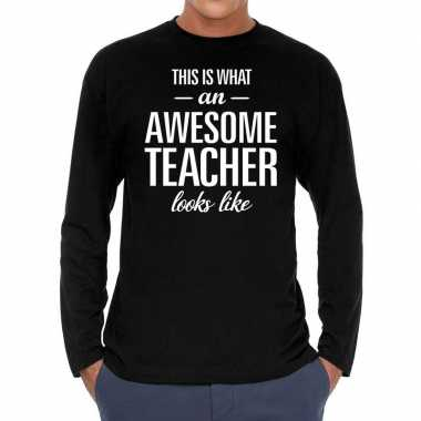 Awesome teacher cadeau t shirt long sleeves zwart heren