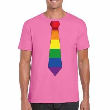 Azalea roze t shirt regenboog vlag stropdas heren