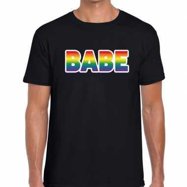 Babe regenboog gaypride shirt zwart heren