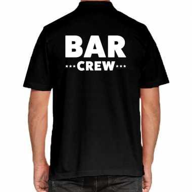 Bar crew / personeel tekst polo shirt zwart heren