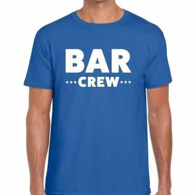 Bar crew / personeel tekst t shirt blauw heren