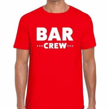Bar crew / personeel tekst t shirt rood heren
