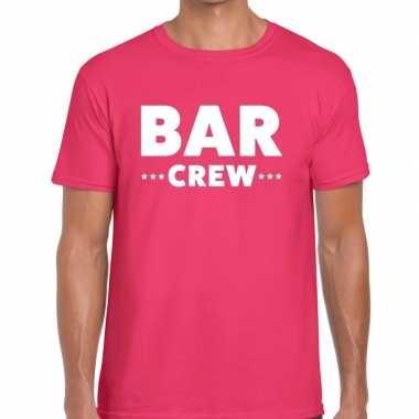 Bar crew / personeel tekst t shirt roze heren