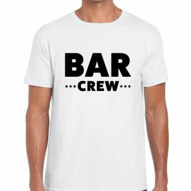 Bar crew / personeel tekst t shirt wit heren