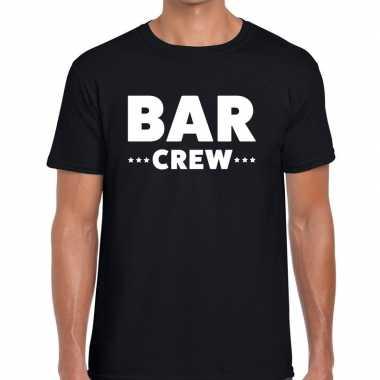 Bar crew / personeel tekst t shirt zwart heren