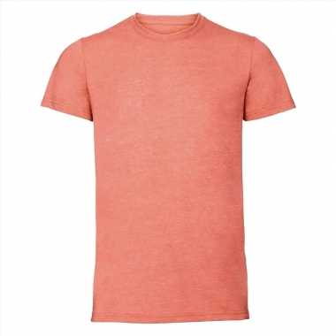 Basic ronde hals t shirt vintage washed koraal oranje heren