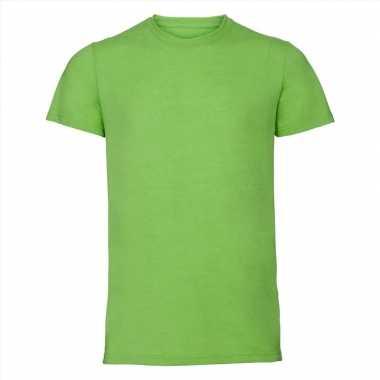 Basic ronde hals t shirt vintage washed lime heren