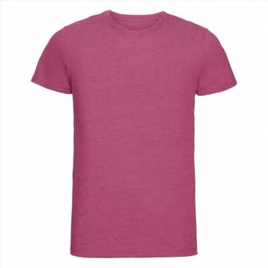 Basic ronde hals t shirt vintage washed roze heren