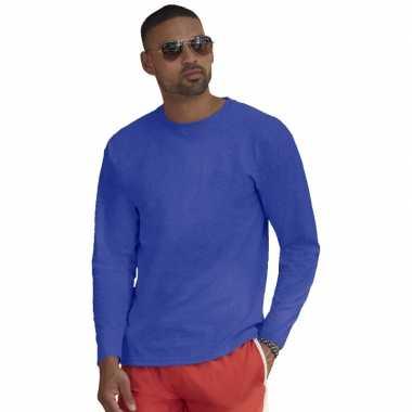 Basic shirt lange mouwen/longsleeve blauw heren