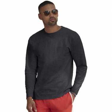 Basic shirt lange mouwen/longsleeve donkergrijs heren