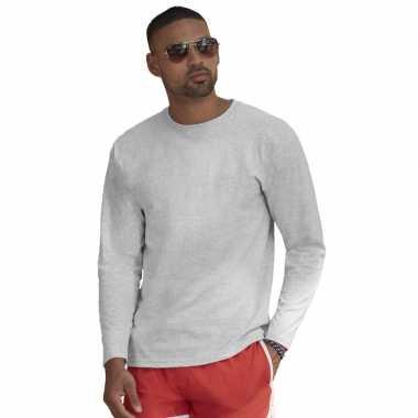 Basic shirt lange mouwen/longsleeve grijs heren