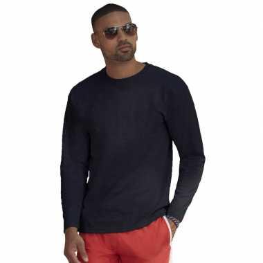 Basic shirt lange mouwen/longsleeve navy blauw heren