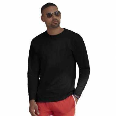 Basic shirt lange mouwen/longsleeve zwart heren