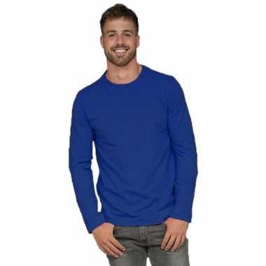 Basic stretch shirt lange mouwen/longsleeve blauw heren