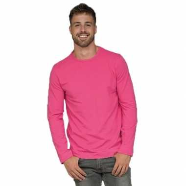 Basic stretch shirt lange mouwen/longsleeve fuchsia heren