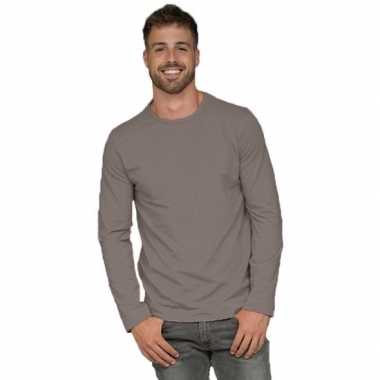Basic stretch shirt lange mouwen/longsleeve grijs heren