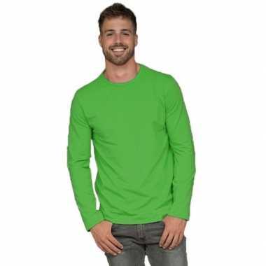 Basic stretch shirt lange mouwen/longsleeve limegroen heren