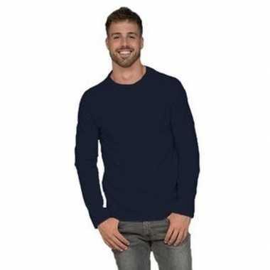 Basic stretch shirt lange mouwen/longsleeve navy heren