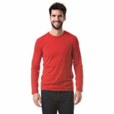 Basic stretch shirt lange mouwen/longsleeve rood heren