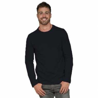 Basic stretch shirt lange mouwen/longsleeve zwart heren