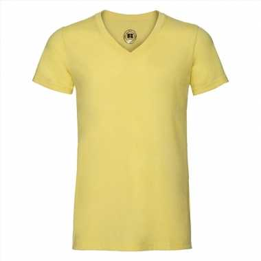 Basic v hals t shirt vintage washed geel heren