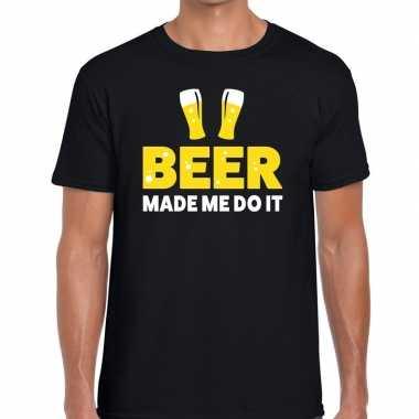Beer made me do it fun t shirt zwart heren