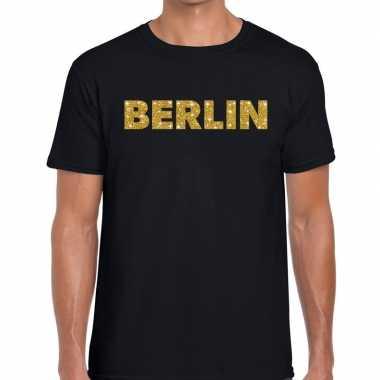 Berlin gouden glitter tekst t shirt zwart heren
