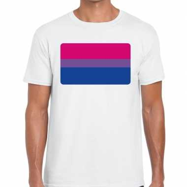Bi vlag gaypride t shirt wit heren