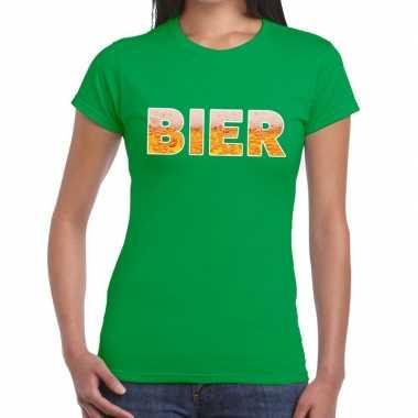Bier tekst t shirt groen dames