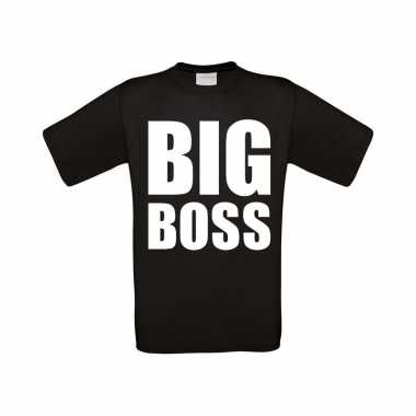Big boss grote maten t shirt zwart heren