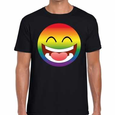Big smiley/emoticon regenboog gaypride t shirt zwart heren