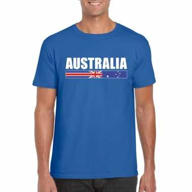 Blauw australie supporter t shirt heren