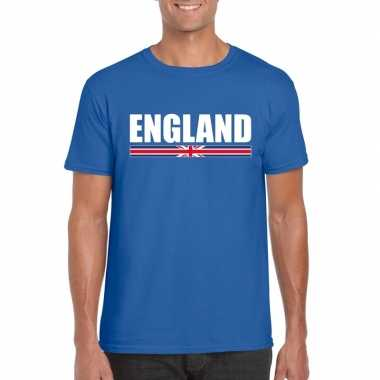 Blauw engeland supporter t shirt heren