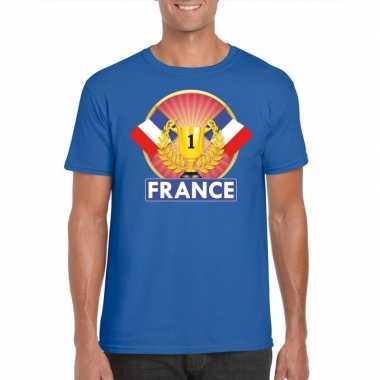 Blauw frankrijk supporter kampioen shirt heren