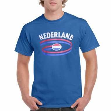 Blauw heren t shirt nederland