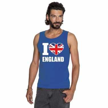 Blauw i love groot brittannie fan singlet shirt/ tanktop heren