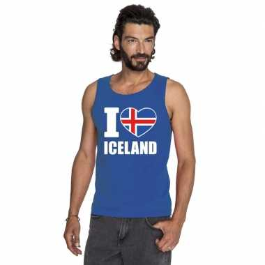 Blauw i love ijsland fan singlet shirt/ tanktop heren