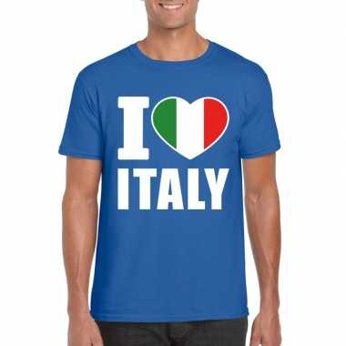 Blauw i love italie fan shirt heren