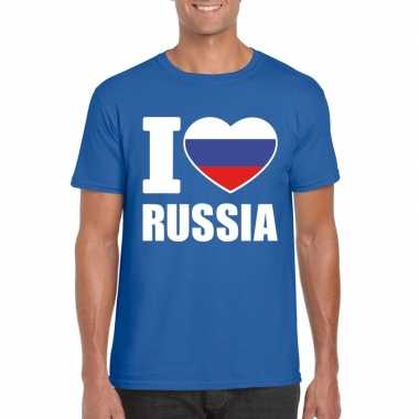Blauw i love rusland fan shirt heren
