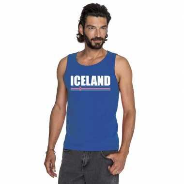 Blauw ijsland supporter singlet shirt/ tanktop heren