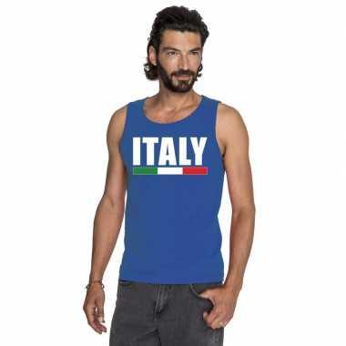 Blauw italie supporter singlet shirt/ tanktop heren